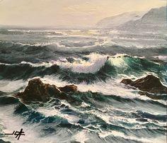 Marina con acrílico Olas y rocas