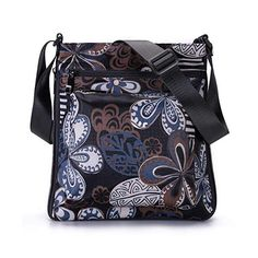 STUOYE Mutil-Pocket Nylon Crossbody Purse Bag with Adjustable Zipper - Black Five Valve Flower Leather Crossbody Bag, Leather Purses, Crossbody Bags, Gifts For Young Women, Stitching Leather, Small Bags, Cross Body Handbags, Purses And Handbags, Diaper Bag