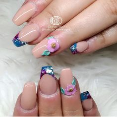 Nude French flowers Nail Bling, French Flowers, Nail Art, Nude, Beauty, Nail Jewels, Nail Arts, Beauty Illustration, Nail Art Designs