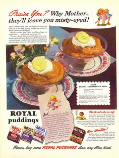 Royal Pudding ad, 1941. #vintage #1940s #food