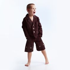 Boys Striped Brown Linen Suit with Shorts, €60.00