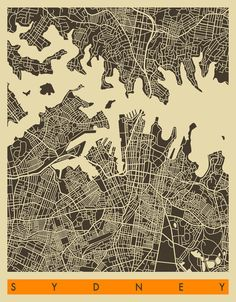 Poster | SYDNEY MAP von Jazzberry Blue | more posters at http://moreposter.de