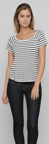Our Maria Top is essential. Striped jersey top. Scoop neckline. 95% Rayon, 5% Spandex. Imported.