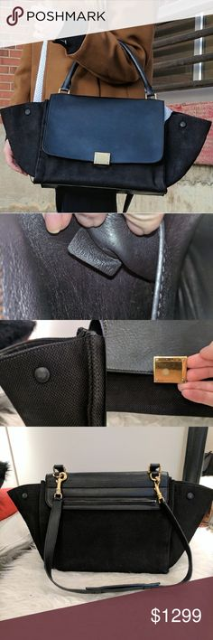 Authentic Celine Black Trapeze Bag CONDITION  Gently Used  Exterior scuffs or marks  In good condition. Only flaws are wear on the snap on one side and some light scratching on the front leather flap of the bag. small hairline scratches to hardware. no accessories included.  DESCRIPTION  Beautiful leather and woven material black Celine Trapeze bag. Can be work on shoulder or crossbody Celine Bags Satchels