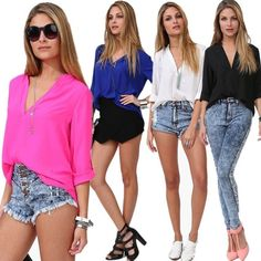 Fashion Sexy Women's Loose Chiffon V-Neck Tops Long Sleeve Shirt Casual Blouse #Generic #Blouse #Casual