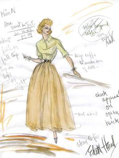 Edith Head sketch for Kim Novak in Vertigo (1958)