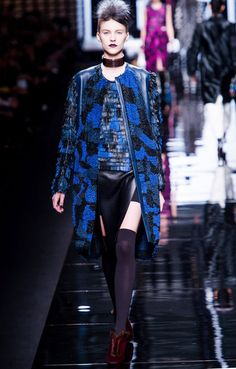 Blue Military Camouflage Pattern #Coat #fashion #Trend for Fall Winter 2013 Fendi F/W 2013  #military #style #trends #trendy