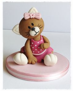 Bear christening cake topper