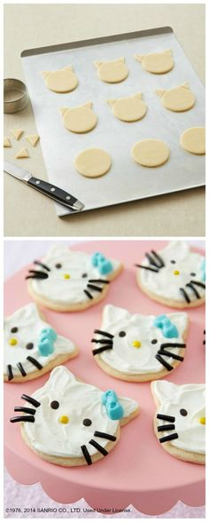 These Hello Kitty sugar cookies are adorable! Perfect for a Hello Kitty birthday party.