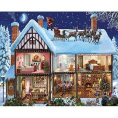 White Mountain Puzzles Christmas House - 1000 Piece Jigsaw Puzzle, Multicolor