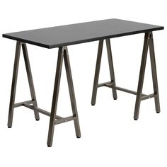 The A-Frame Desk brings architectural simplicity into the office with its symmetrical sides and rectangular top. The laminate work surface is available in black or white both with brown powder-coated tubular steel legs. Self-leveling feet keep it stable on uneven surfaces. The perfect contemporary desk for both modern and transitional spaces.