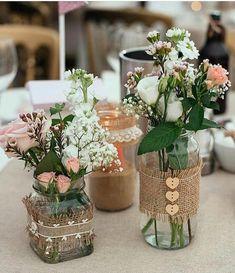 Ideas Bridal Shower Decorations Elegant Fall For 2019 Bridal Shower Centerpieces, Mason Jar Centerpieces, Wedding Table Decorations, Vases, Mason Jar Crafts, Mason Jar Diy, Bottle Crafts, Deco Champetre, Deco Floral