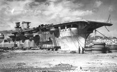 Stern view of the never finished Italian aircraft carrier Aquila