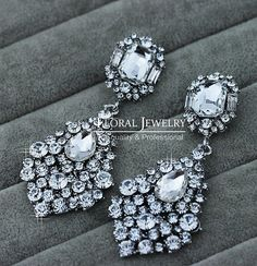"PAIR Long Dangle Cluster Crystal wedding bride prom gauges plugs 1/2"" - 12mm 9/16"" - 14mm 5/8"" - 16mm 11/16"" - 18mm 3/4"" - 19mm"
