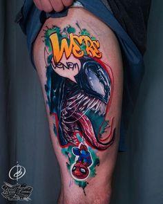 aliens new school tattoo \ new school tattoo alien Spiderman Tattoo, Marvel Tattoos, Venom Spiderman, Venom Tattoo, Alien Tattoo, Family First Tattoo, Family Tattoos, Pop Art Tattoos, Neue Tattoos