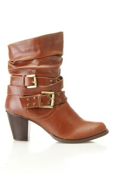 Strappy Bootie In Cognac.