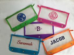 Personalized School Supplies - Monogram Pencil Pouches for 3 Ring Binder - KIds Back to School on Etsy, $6.00