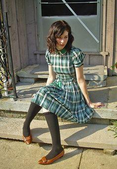 Pretty plaid dress... and cute shoes too!