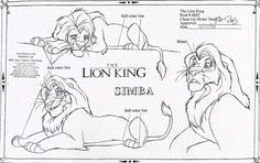 Walt Disney Animation Studios - The Lion King (1994) Clean-Up Model Sheets - Simba © Disney