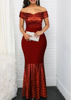 Off the Shoulder Sequin Detail Red Maxi Dress Tight Dresses, Casual Dresses, Black High Low Dress, Dinner Gowns, African Print Fashion, Lace Maxi, Women's Fashion Dresses, Dresses Online, Detail