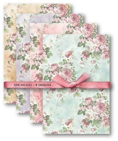 598-Vintage Floral Background Paper Digital Collage Sheet - Vintage Papers