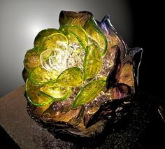 """Martin Blank's """"Purple/Green Lotus"""", 2014  10 x 13 x 11 in.  Blown and hot-sculpted glass sculpture"""