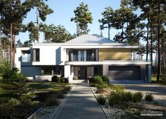 Two storey house in modern style with usable area House with a large garage. Minimum size of a plot needed for building a house is m. Contemporary House Plans, Modern House Plans, Modern House Design, Dream Home Design, My Dream Home, Haus Am Hang, House Plans Mansion, Two Storey House, Parking Design