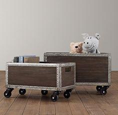 Jack - big boy room   Industrial Wooden Storage on Wheels   Storage & Organization   Restoration Hardware Baby & Child