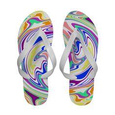 Color Maze White Flip Flops
