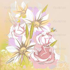 Скачать - Нежный цветочный фон с ромашками и розы — стоковая иллюстрация #9578950