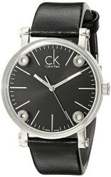 Calvin Klein Women s K3B231C1  Congent  Black Dial Black Leather Strap  Swiss Quartz Watch 4efaa3ed07
