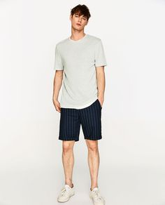 Image 1 of STRIPED INDIGO BERMUDA SHORTS from Zara Indigo, Zara Man, Summer Wear, Bermuda Shorts, Sporty, Men Clothes, Mens Tops, How To Wear, Style