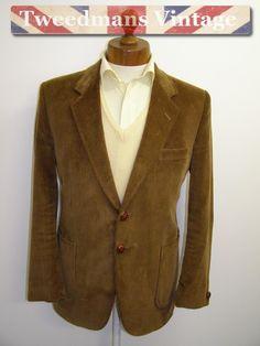 Tan brown corduroy jacket mens slim fitted 40S | Tweedmans Vintage