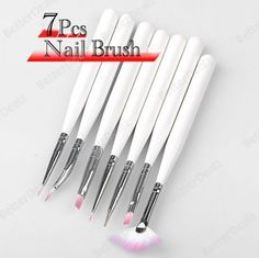 $3 free ship 7pc Nail Art Design Dotting Brush Painting Pen Set Tool Acrylic White Stick DIY
