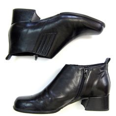 Black Leather Chelsea Boots Zip Up Ankle Boots 90s Vintage Leather... ($42) ❤ liked on Polyvore featuring shoes, boots, ankle booties, black leather bootie, black chunky heel booties, black leather boots, leather chelsea boots and black chelsea boots