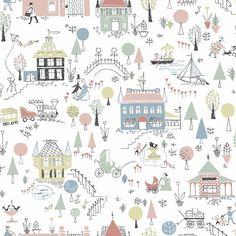 Tapeta 5382 Garda Arkiv Engblad & Co Wallpaper Childrens Room, Kids Room Wallpaper, More Wallpaper, Colorful Wallpaper, Pattern Wallpaper, Swedish Wallpaper, Scandinavian Wallpaper, Kindergarten Wallpaper, Scandinavian Design Centre