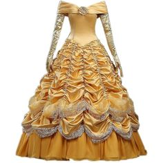 Cosrea Cosplay Beauty And Beast Princess Belle Brocade Ruffle Cosplay... (410 BRL) ❤ liked on Polyvore featuring costumes, dresses, cosplay, disney, princess belle halloween costume, princess belle costume, belle halloween costume, belle costume and role play costumes