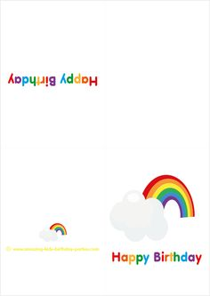 "FREE Kids ""Happy Rainbow Birthday"" Cards at http://www.amazing-kids-birthday-party-ideas.com/kids-party.html"