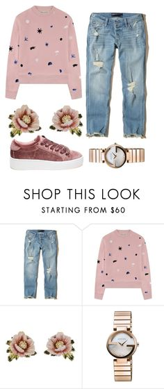 """Pink quirky style"" by elisenotelsie ❤ liked on Polyvore featuring Hollister Co., Être Cécile, Les Néréides, Gucci and Steve Madden"