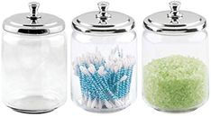 mDesign Modern Glass Bathroom Vanity Countertop Storage Organizer Canister Apothecary Jar for Cotton Swabs Rounds Balls Makeup Sponges Bath Salts - 3 Pack - Clear/Chrome - $24.99 - 4.1 out of 5 stars - Bathtub Tray Apothecary Bathroom, Glass Bathroom, Apothecary Jars, Canister Sets, Canisters, Vanity Countertop, Countertops, Ball Makeup, Bathtub Tray
