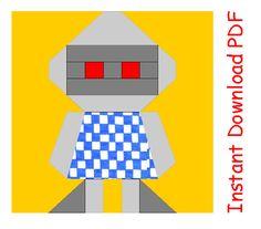 Robot PDF Quilt Block Paper Pieced Sewing Pattern von RightPatterns, $2.70