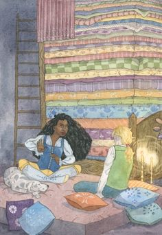 "The Princess and the Pea - Feminist Fairytales illustration. An illustrated book of five traditional fairytales, retold with a feminist twist. ""And what a bed it was! Twenty mattresses were piled one on top of the other, and on top of those lay twenty eiderdown quilts..."""