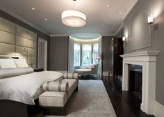 dSPACE- Astor Street Reconstruction- Master Bedroom with Chesney fireplace and custom drapery pockets Family Room, Home And Family, Spa Like Bathroom, Bedroom Furniture Design, Grand Staircase, Guest Suite, Single Family, Custom Homes, Master Bedroom