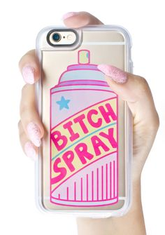 Casetify Bitch Spray iPhone 6+/6S+ Case ...we're sprayin' this before we're even out tha door, bb. This dope iPhone case designed by Jade Boylan features a premium hardshell case with raised edges to keep yer sh!t from gettin' cracked, clear back, and an awesome spray can graphic that reads 'Bitch Spray.'