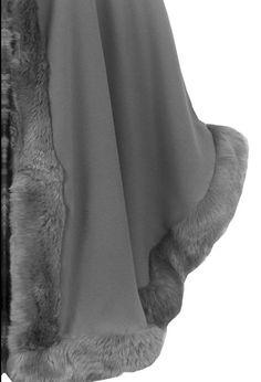 Manteau Poncho Femme Cape Capuche Bordé Fourrure Synthétique - Taille unique…