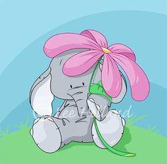 Cute elephant holding a flower