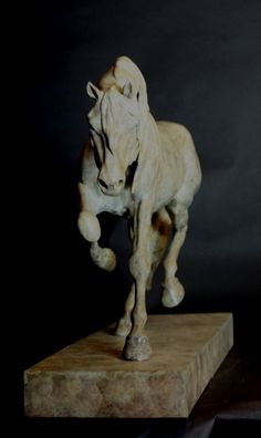 Bronze Horse Sculpture / Equines Race Horses Pack HorseCart Horses Plough Horsess sculpture by artist Gill Parker titled: 'Dynamic (Contemporary Trotting Indoor Horse statue statuette sculpture)'