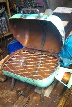 Creative ideas in crafts and upcycled, innovative, repurposed art and home decor. Bbq Grill, Barbecue, Grilling, Metal Projects, Welding Projects, Welding Art, Diy Projects, Welding Ideas, Diy Wood Stove