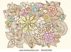 Vector creative flower pattern. Doodle floral design elements
