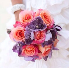 Coral and purple bouquet